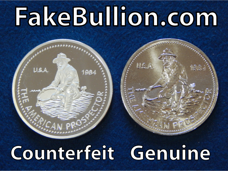comparing counterfeit and genuine silver rounds