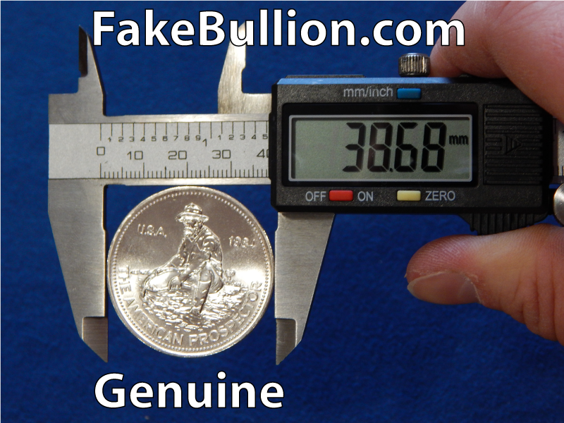 measuring genuine silver round