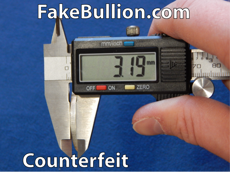 measuring counterfeit silver round